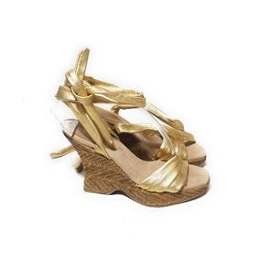SEYCHELLES Flamenco Gold Wedge Sandals Ankle Tie 6